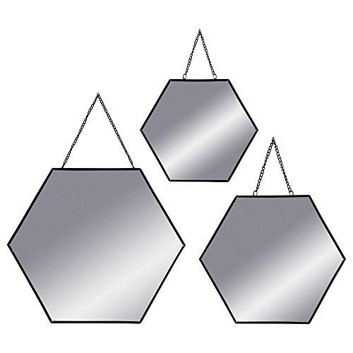 ATMOSPHERA Spiegel Wandspiegel Sechseck Metall 3-er Set