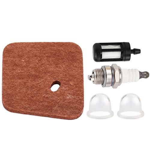 Hipa Spark Plug + Fuel Filter + Air Filter + Primer Bulb for STIHL FC55 FS38 FS45 FS46 FS55 HS45 KM55 HL45 String Trimmer Brush Cutter 4140 124 2800