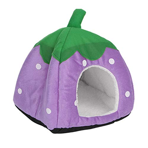 Cute Strawberry Pet Bed Dog Kitten Puppy Cave Kennel House with Mat Foldable Portable Indoor Cave Nest Puppy Tent with Removable Cushion Washable Pets Household