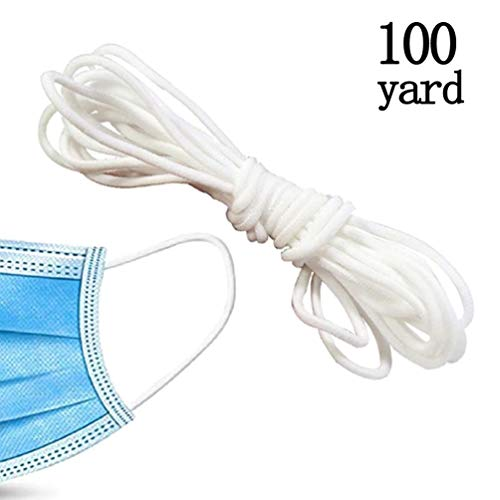 Elastic Mask Strap White Earloop Cord Ear Tie Rope Handmade String for Mask Sewing(100 Yard)