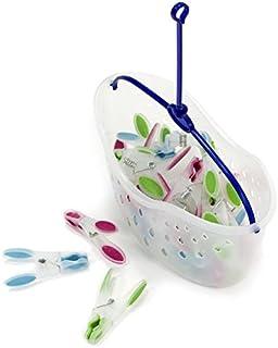 MSV Panier porte pinces à linge + lot de 24 pinces à linge aux poignées douces, parfaites pour étendre le linge sur l'éten...