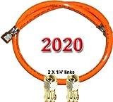 TGO Gasgeräte GmbH Gasschlauch 2 X 1/4' Links (300 cm) - Standard (PVC) mit Aufdruck 2020 (für Gewinden-Außenmaßen mit ca. 12-13mm)