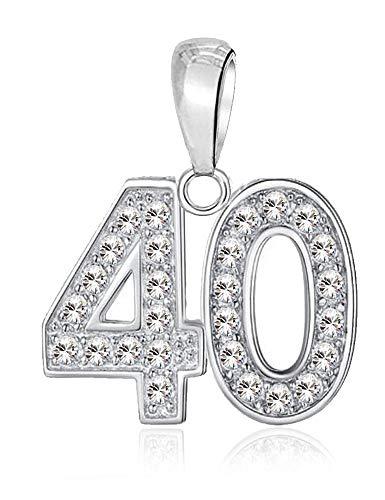 40 feliz cumpleaños Charm abalorios para mujer pandora charm pulsera - Plata de ley 925 dijes con circonita blanco - 40 º