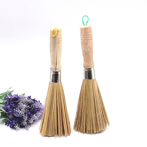 Gonioa Bamboo Kitchen Wok Brush fpr Pan Pot Cleaning Brush With Long Wooden Handle, Pack of 2