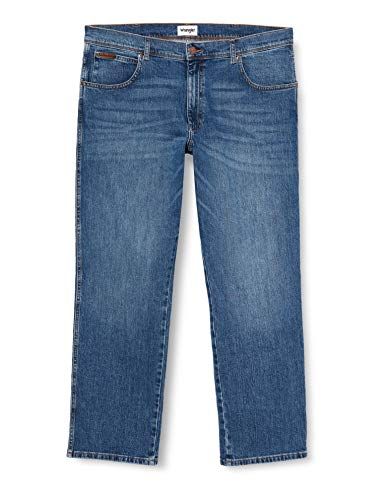 Wrangler Herren Jeans Texas Stretch Regular Fit Jeanshose Straight Denim Hose 99% Baumwolle Blau W30-W44, Größe:34W / 36L, Farbvariante:Blue Whirl (W121P311E)