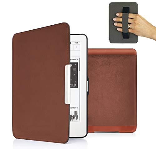MyGadget PU Leder Hülle für Amazon Kindle Paperwhite (bis 2017) Handschlaufe und Auto Schlaf/Wach Funktion Magnetische Kunstleder Flip Hülle - Braun