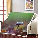 UTBDWOSX Mantas para Sofa Patrón De Setas De Plantas 3D Mantas para Cama De Franela, Mantas Ligeras De 100% Microfibra - Fácil De Limpiar - Extra Suave Cálido 150 X 200 Cm