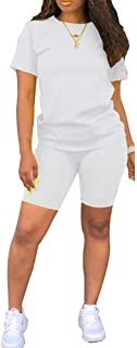 ECHOINE Womens Lightweight 2 Piece Sports Outfit Tracksuit Shirt Shorts Jogger Sportswear Set Activewear