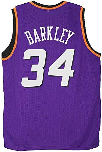 YDYL-LI Jersey di Pallacanestro Classica da Uomo - NBA Phoenix Suns # 34 Charles Barkley Jersey, Fans Nero Senza Maniche Luce/Traspirante Potenza in avanti Sport T-Shirt,L(175~180CM/75~85KG)