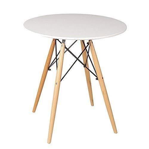Beat Dining-80, Mesa patas madera y sobre madera blanco estilo nórdico para comedor, cocina , balcón , terraza interior