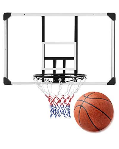 MaxKare 44 Inch Basketball Backboard Wall-Mount Hoops & Goals Rim Combo Kit&Shatterproof Polycarbonate Board&All-Steel Rustproof Frame&for Standard No.7 Balls