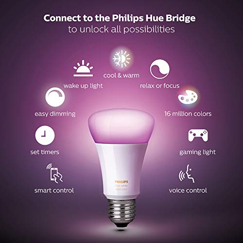 Philips Hue White and Colour Ambiance Starter Kit: Smart Bulb 3x Pack LED [E27 Edison Screw] Including Dimmer Switch and Bridge, Works with Alexa, Google Assistant and Apple HomeKit