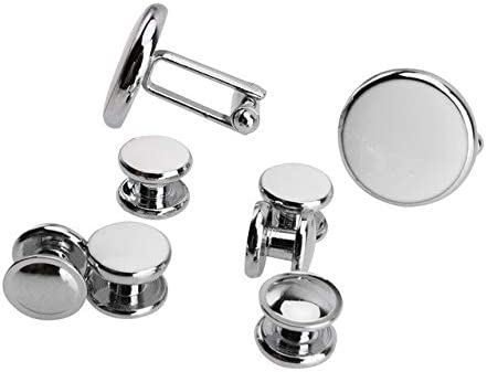 Pukido 8 Pcs Cufflinks Men Shirt Cuff Button and Studs Set Christmas Gifts for Mens Fashion Stainless Steel Round Tuxedo Cuff Link - (Color: 8 Pcs)