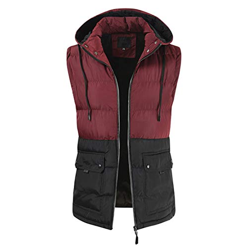 Men's Warm Winter Gilets Windproof Body Warmer Vest Padded Gilets Hooded Sleeveless Vest Windproof Thermal Coats Classic Outdoor Casual Outwear with Pockets L