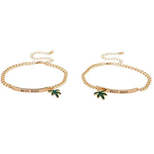Lux Accessories Goldtone Best Buds BFF Friends Marijuana Leaf Bracelet Set...