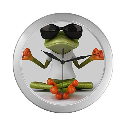 JOCHUAN Home Wanduhr Lustige Laubfrosch Meditation Yoga Frosch Quarzuhr Wand 9,65 Zoll Silber Quarz Rahmen Dekor für Büro/Schule/Küche/Wohnzimmer/Schlafzimmer