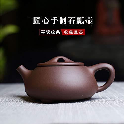 Ceramics Teekanne ton teekanne Porzellan Teekanne berühmte Reine Hand Handwerkern Erz echte lila Ton Teekanne Tee Jing Zhou Stein Schaufel Topf Neuheit Teekanne Teesieb Teekanne (Color : Purple mud)
