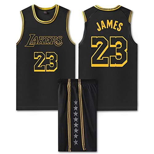 GAOXI Uniforme de Baloncesto de James Men, Lakers # 23 James Basketball Uniforme Top Transpirable Suelto Top Casual Chaleco sin Mangas Camiseta Swingman, Black-L