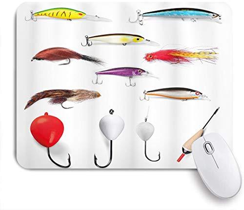 Benutzerdefiniertes Büro Mauspad,Fischernetzmaterialien mit drehbaren Platinen Fliegenruten Floats Gaffs Freizeitbeschäftigung,Anti-slip Rubber Base Gaming Mouse Pad Mat