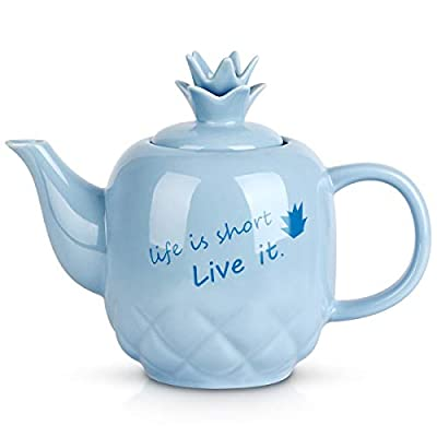 Toptier Ceramic Teapot, Large Tea Pot with Stainless Steel Infuser, 40 Ounce, Blooming & Loose Leaf Teapot for Tea Lover, Gift, Family, (Turquoise Pineapple)