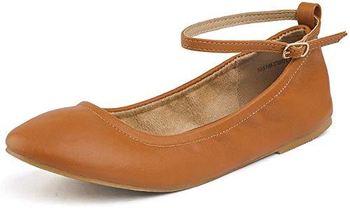 DREAM PAIRS Sole-Fina-Straps Damen Knöchelriemen Ballerinas Flache Schuhe Bräunen Größe 7 US / 38 EU