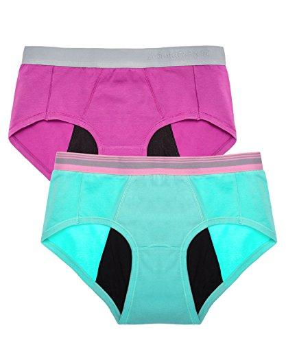 Intimate Portal Damen Leichte Absorbierende Schutzslips Für Periode Menstruation Inkontinenz Violett Grün 2er-Pack XL