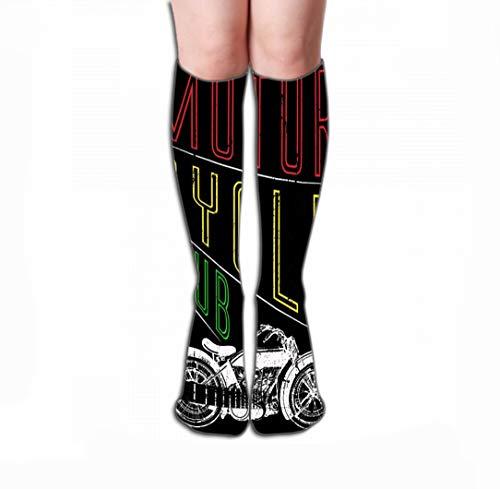 """GHEDPO Hohe Socken Women\'s Knee High Socks Athletic Socks 19.7\""""(50cm) Motorcycle Label Design Custom Chopper Art Fashion Motorcycle Label Design"""