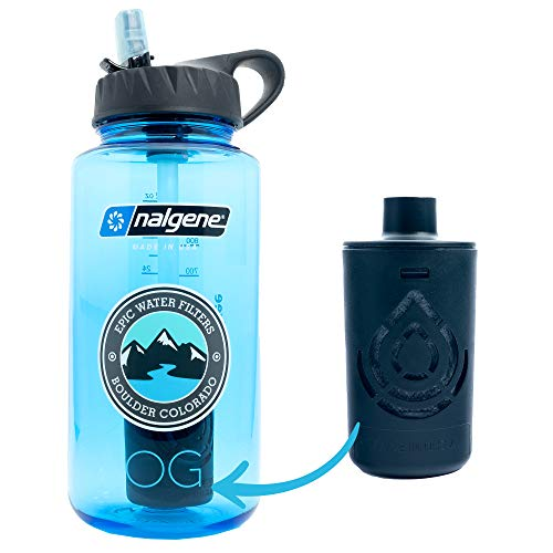 Product Image of the Epic Nalgene OG | Water Bottle with Filter | USA Made Bottle and Filter | Dishwasher Safe | Filtered Water Bottle | Travel Water Bottle | BPA Free Water Bottle | Removes 99.99% Tap Water Impurities