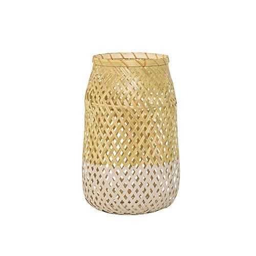 Bloomingville Lantern w/Glass, Nature, Bamboo Ø18xH30 cm