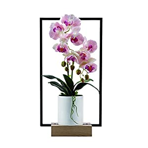 NYKK Decoration Phalaenopsis Artificial Flower Bonsai Silk Flower Bonsai Suitable for Tea Room Hotel Living Room Metal Frame Flower Pot, Purple Table Centrepieces