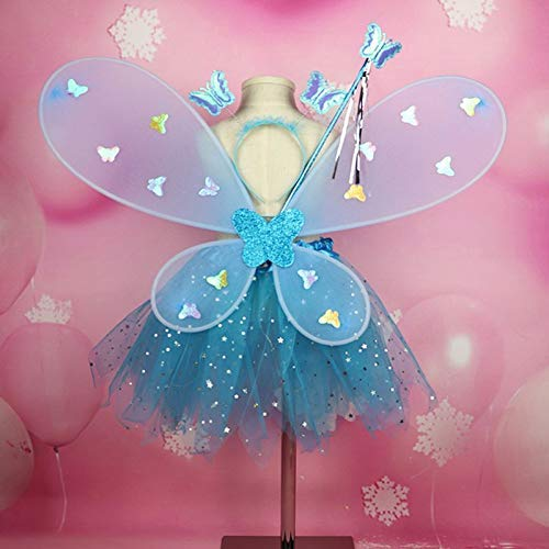 Halloween Party Supplies Women Girls Role-playing Cute Flashing Wing Tutu Skirt Led Glow Headband Fairy Stick Christmas Halloween Cosplay Dress WTZ012
