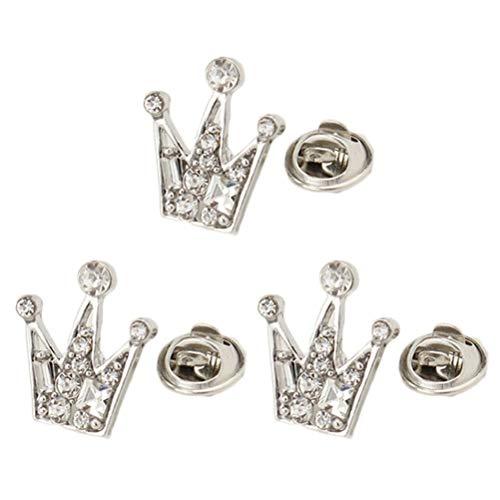 YeahiBaby Mini Crown Broschen 6 Stücke Unisex Corsage Party Anzug Kragen Schnalle Mode Damen Hemd Clip (Silber)