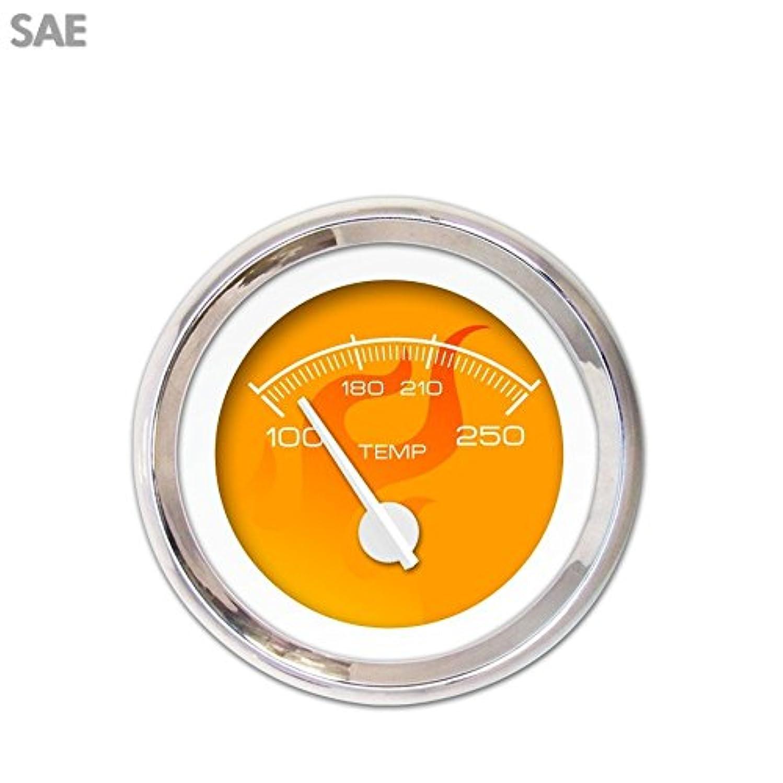 Aurora Instruments 3552 Ghost Flame Orange SAE Water Temperature Gauge (White Modern Needles, Chrome Trim Rings, Style Kit DIY Install)