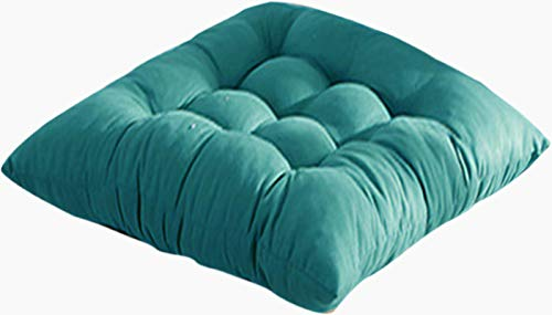 ChezMax Soft Breathable Chair Pads with Ties Autumn and Winter Thicken Pure Pigment Color Brushed Cushion Office Dining Chair Cushion Lake Blue Nine Hole