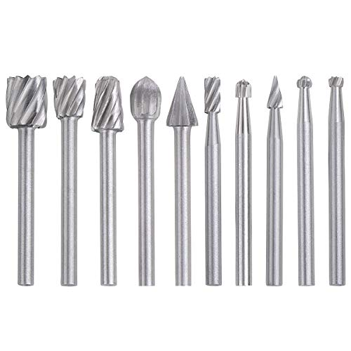YDLQWCZ 10pcs Rotary Bit Burrs Set HSS Tungsten Carbide Wood Milling Burrs with 1/8 inch (3mm) Shank for DIY Woodworking, Carving, Engraving, Drilling