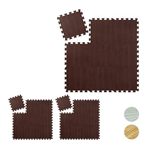 Relaxdays 27 x Bodenschutzmatte, Puzzlematten für Sport und Fitnessgeräte,ca. 2,55 m², Eva Schaumstoff, BPA-frei, Holzoptik, braun