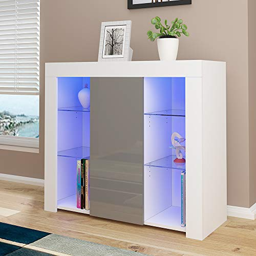Panana High Gloss Sideboard Cupboard with LED Lights and 4 Glass Shelves Display Cabinet Storage Unit for Living Room Bedroom (Grey Brown)