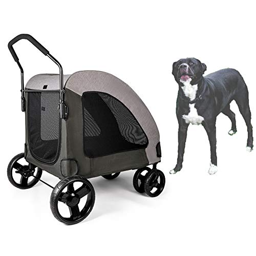 HD2DOG Haustier Hundewagen, Luxuswagen Für Große Hunde Oder Katzen | Faltbarer 4-Rad-Reise-Kinderwagen-Jogger Mit 55 Kg XTM514,Grau