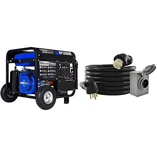 DuroMax New XP12000E Generator, Blue & Conntek GIB1450-025 Duo-Rain Seal 50Amp Power Inlet Box and Temp Power Cord Combo Kit, 25 Feet