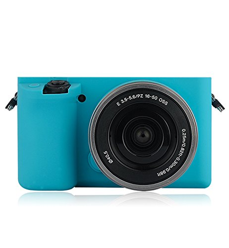 Silicone Case Soft Protective Skin For Sony Alpha A6000 With 16-50mm Lens - Blue