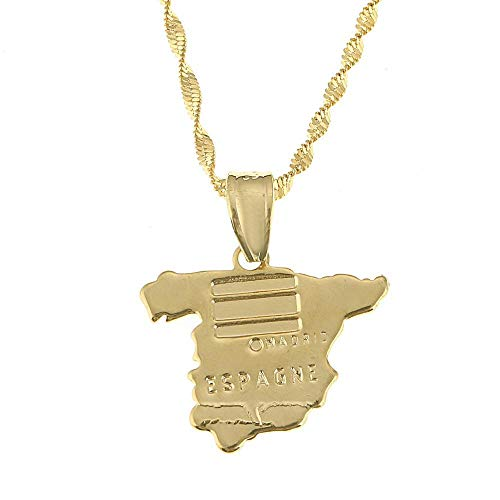 QAZQAZ Spain Map Pendant Necklace for Women Gold Color Jewelry Love Map Chain Jewelry Map Pendant Necklace,Men Women Gift