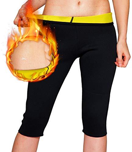 Novecasa Sauna Schwitzweste Langarm Damen Hose Abnehmen Fitness Shorts Sweatpants aus Neopren, Fitnesskorsett zum Schwitzen, Fettverbrennung, Bauchweg, Shorts, XXXX-Large