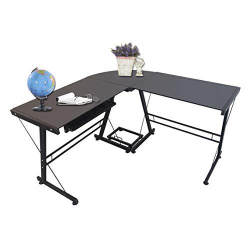 L-Shaped Stalinite Splicing Computer Desk Home-Use Durable Modern Desk, Black