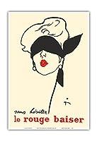 ためらうことなく赤いキス - パリ - Paul Baudecroux - ビンテージな広告ポスター によって作成された ルネ・グリュオ 1949 - アートポスター - 33cm x 48cm