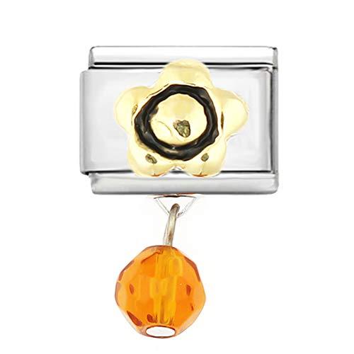 AKKi Italian Charms Armband Classic glieder Italy Charm,Silber Gold Edelstahl Links Kult modele Blume Tiere Herz für Basisarmband Glänzend matt Farbe kompatibel mit Original Strass Herz in rot N1