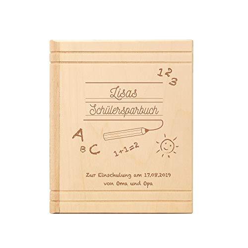 Spardose Buch aus Holz mit Gravur zur Einschulung - Schülersparbuch – Personalisiert mit Namen und Datum – Sparbüchse aus Ahornholz als Geschenk zum Schulanfang
