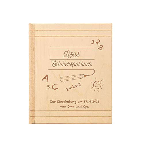 Casa Vivente Spardose Buch aus Holz mit Gravur zur Einschulung - Schülersparbuch – Personalisiert mit Namen und Datum – Sparbüchse aus Ahornholz als Geschenk zum Schulanfang