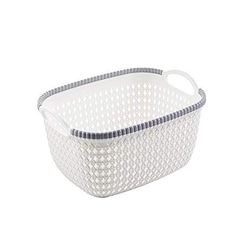 Mamum Panier de Rangement - Caisse de Débris de Cosmétiques de Cuisine à laver panier à fruits de Boîte de Finition de Bureau de Panier de Rangement en Plastique de bureau (Blanc)