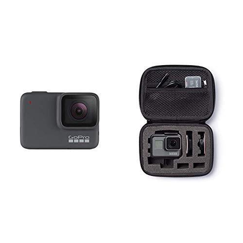 GoPro hero7 Argento 4 K Fotocamera d'azione impermeabile (fino a 10 m) con stabilizzazione video e vocale & Amazon Basics - Custodia per trasporto GoPro, misura Extra-Small