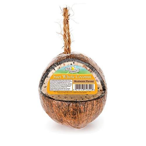 Walter Harrison's High Energy Whole Coconut Suet Wild Bird Nutritious Hanging Garden Feeder Mealworm Flavour